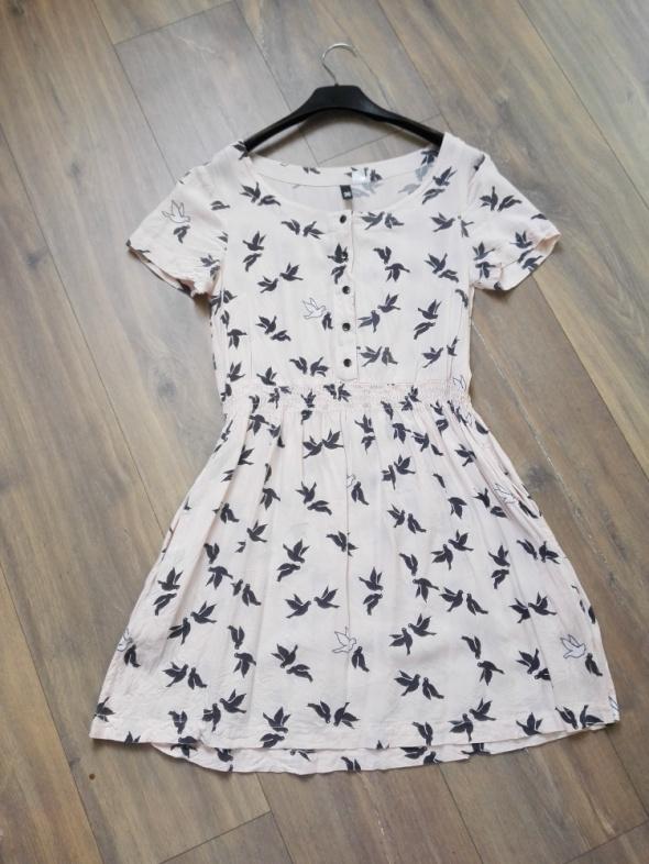 Suknie i sukienki Pastelowa różowa sukienka w gołąbki print rozm 36