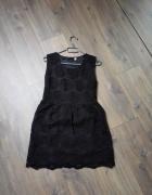 Czarna sukienka w słoneczniki lata 50 te rozm 36 S...