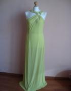 Wieczorowa elegancka balowa seledynowa suknia...