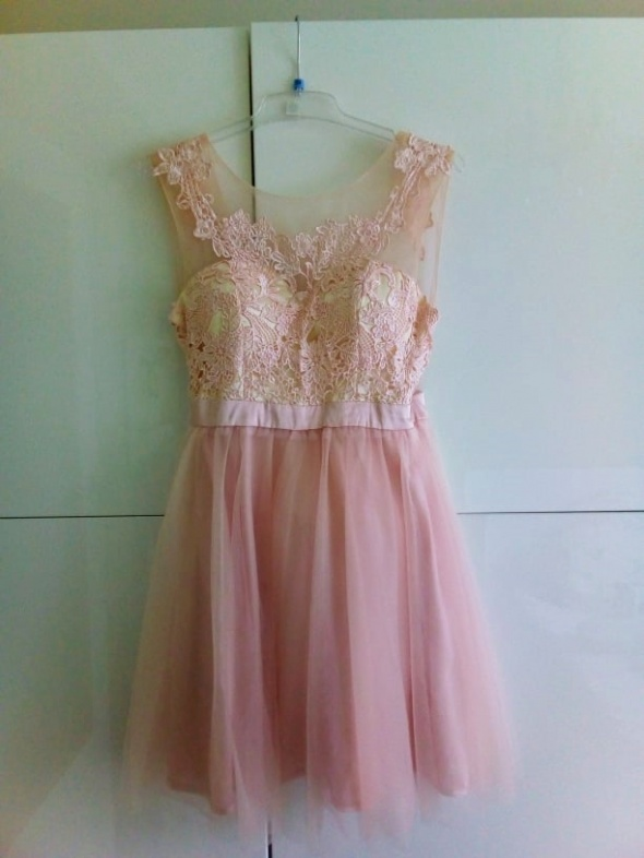 Suknie i sukienki sukienka koronkowa różowa S