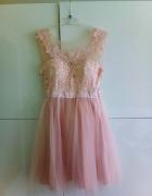 sukienka koronkowa różowa S...