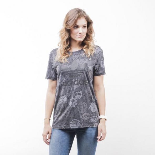 ADIDAS Originals tshirt koszulka kwiaty szara grey AY8023 NOWY
