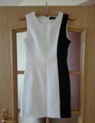 Biało czarna elegancka sukienka o klasycznym kroju Rozmiar 34