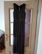 Elegancka wieczorowa sukienka z tiulu mieniącego się złotem Roz...
