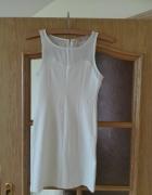 Biała sukienka mini z siateczkową górą Rozmiar małe 34