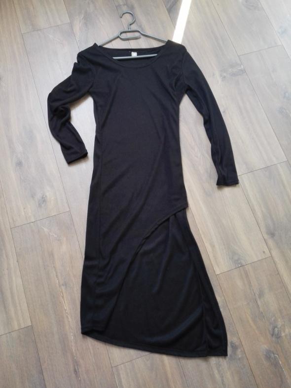 Sukienka czarna asymetryczna krótszy przód rozm 36 S