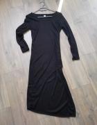 Sukienka czarna asymetryczna krótszy przód rozm 36 S...