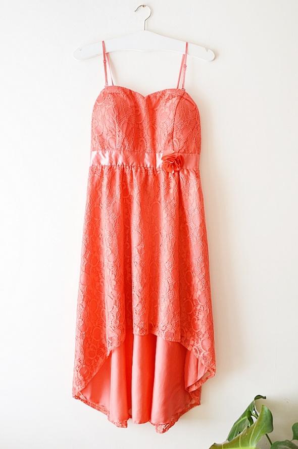 koronkowa sukienka pomarańczowa L