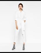 Nowy biały kombinezon wiązany Zara S...