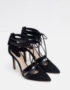 Nowe wiązane szpilki sandałki czarne skórzane Zara 38...