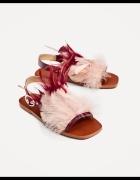 Nowe skórzane sandałki z piórkami Zara 39...