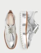 Nowe Buty Derby Srebrne Zara 40