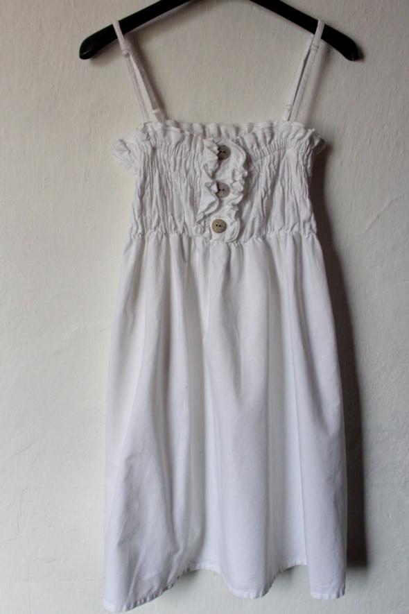 Krótka letnia biała sukienka na ramiączkach r M...