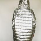 srebrny silver oversize płaszcz pikowany zima kiesznie