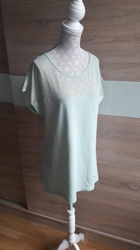 Miętowa bluzka z krótkim rękawem siateczka House 40...