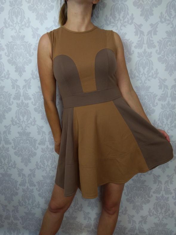 Rozkloszowana brązowa sukienka ASOS...