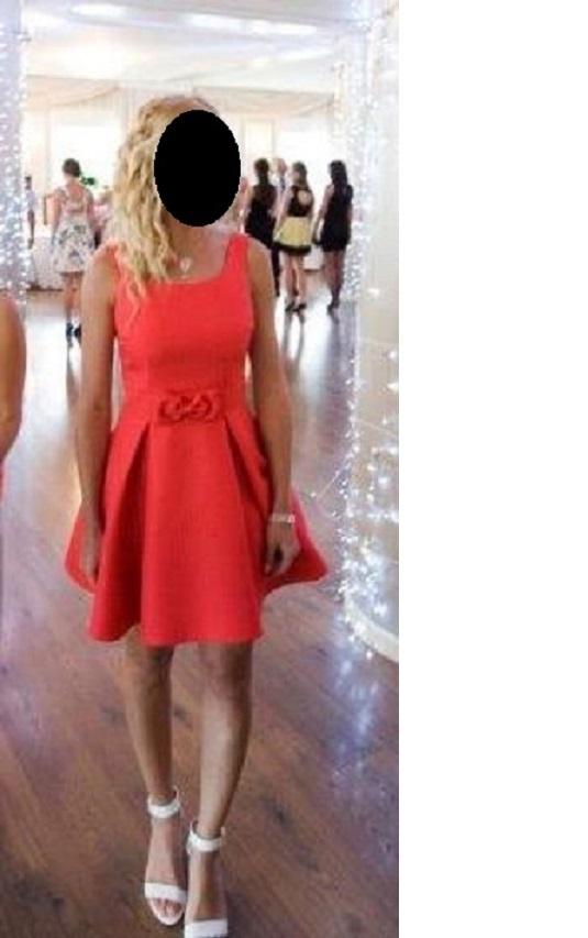 f5f66196 malinowa rozkloszowana sukienka z kokardką w Suknie i sukienki ...