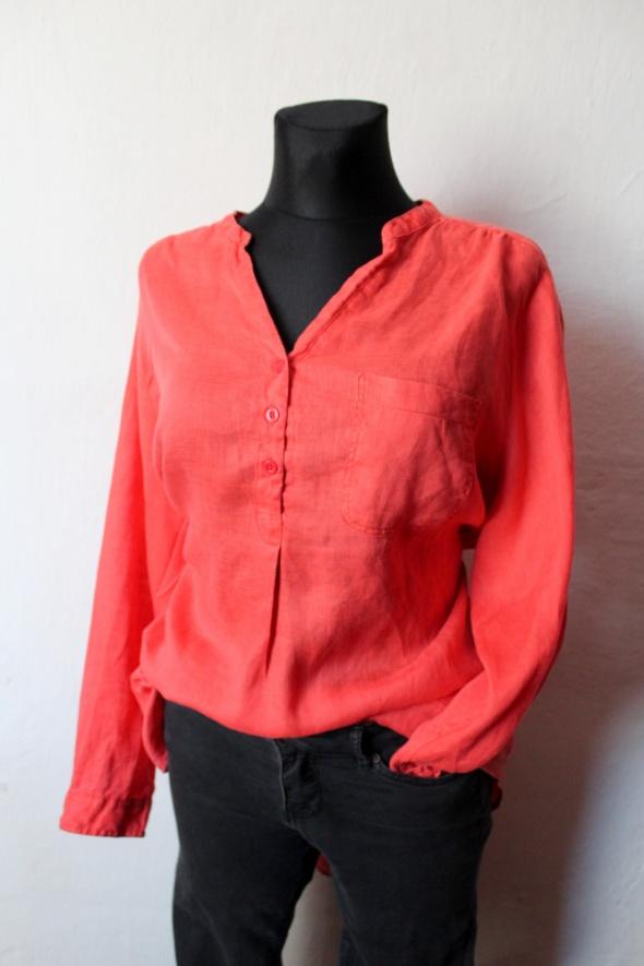 Koszula tunika w kolorze koralowym z lnu r około XXL