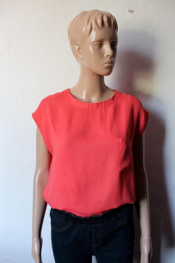 Lejąca bluzka bez rękawów w kolorze koralowym r S...