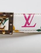 Pasek Wzory Louis Vuitton Biały Klamra 86 cm LV...