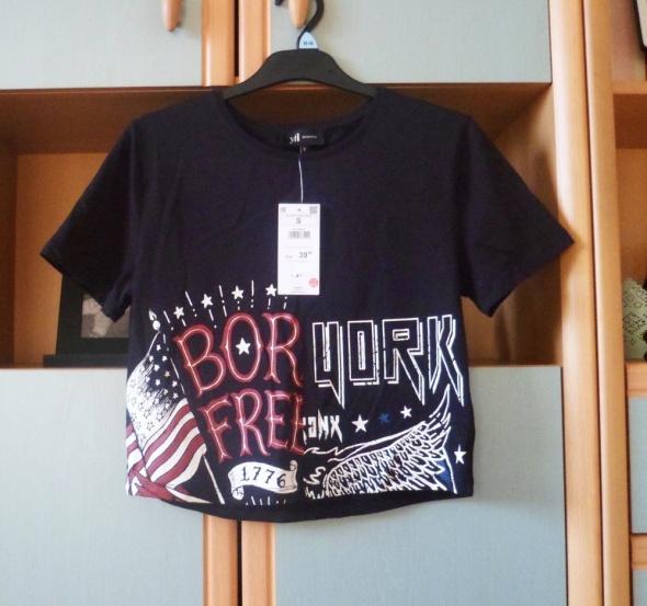 Nowa z metką koszulka Reserved crop top bluzka tshirt z nadruki...