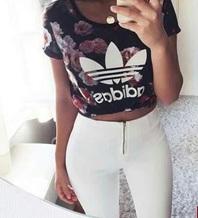 bluzka adidas flover rurki białe