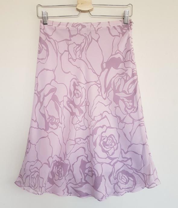 Elegancka spódnica H&M w kwiaty różowa wrzosowa XS 34