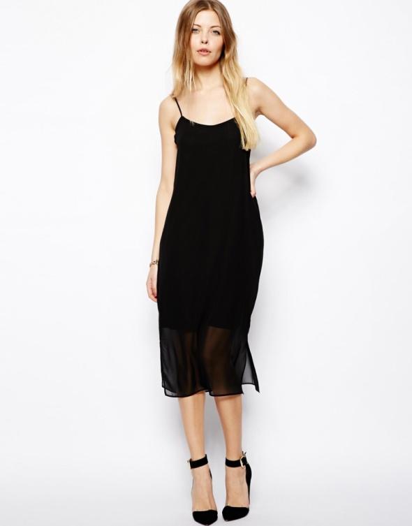 ASOS czarna prosta sukienka midi z siateczką...