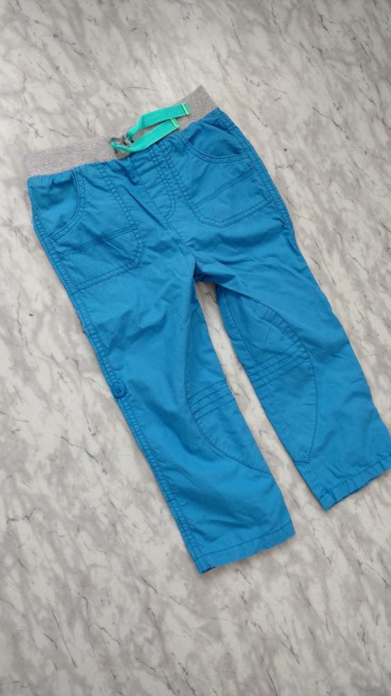 Spodnie 2w1 bojówki bawełniane 2 3 lata 92 błękitne
