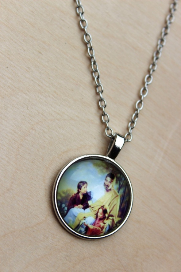 Naszyjnik Jezus i dzieci wisiorek łańcuszek kaboszon rękodzieło