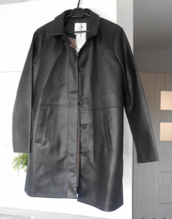 Mango nowy płaszcz czarny skórzany eko skóra kołnierzyk...