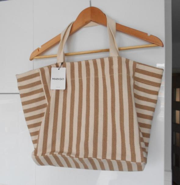 Mango nowa torba nude paski beżowa na lato shopper...