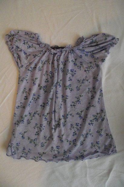 Bluzka mgiełka liliowa floral kwiaty 36 38 nowa