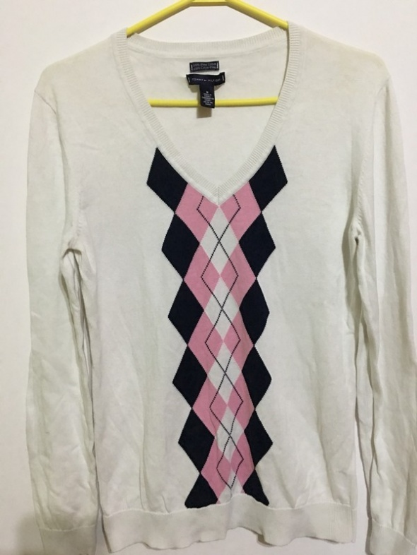 Tommy Hilfiger biały sweterek romby M...