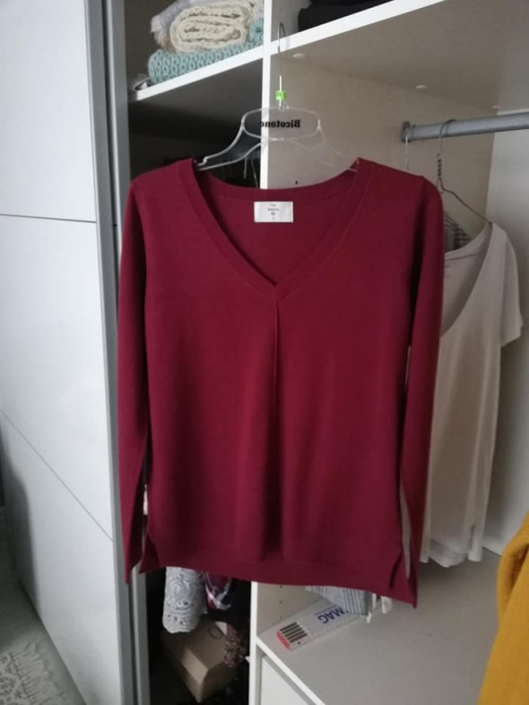 NOWY c&a bordowy sweter...