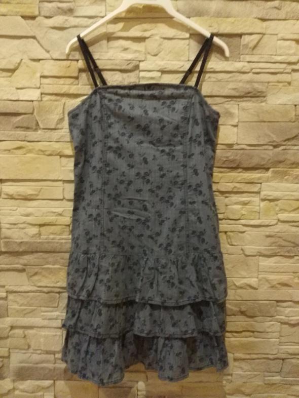 Suknie i sukienki Sukienka na ramiączkach w kwiatuszki r42 JAK NOWA