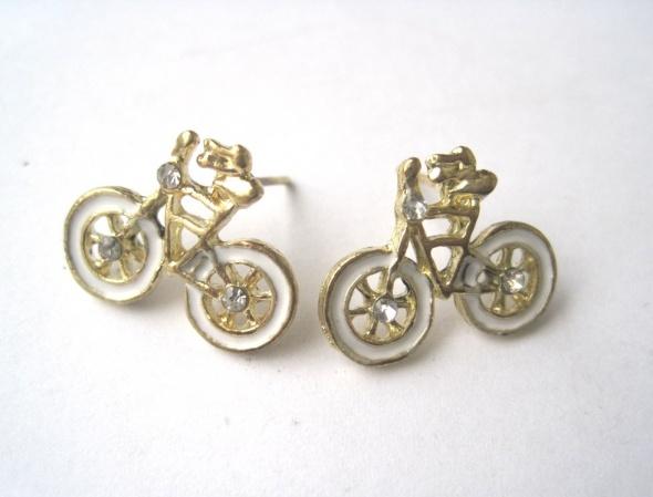 kolczyki małe rowery wkrętki