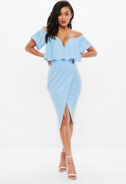 Niebieska błękitna baby blue sukienka ołówkowa hiszpanka Missgu...