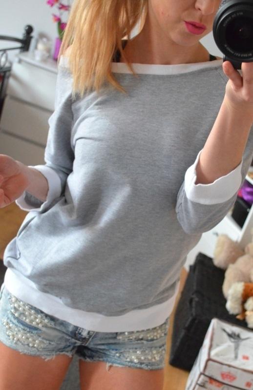 sexi bluza na wiazanie szara dres