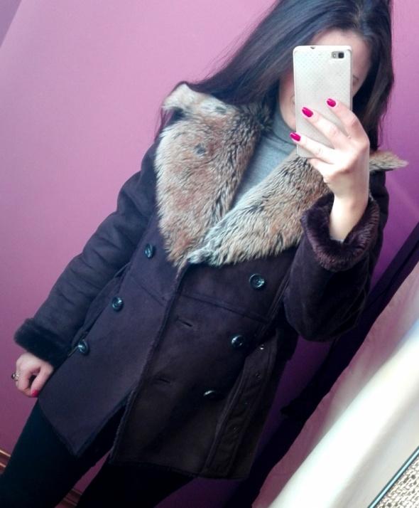 Elegancki płaszcz z futerkiem ORSAY kożuch rozmiar XS