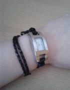 Zegarek na czarnym rzemyku bransoletka Japan style owijany nowy...