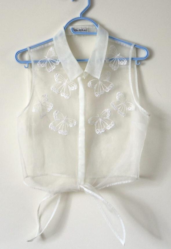 Crop top koszula mgiełka motyle L
