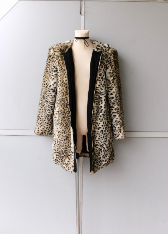 Zara panterkowy kożuszek płaszcz zamek 40 L