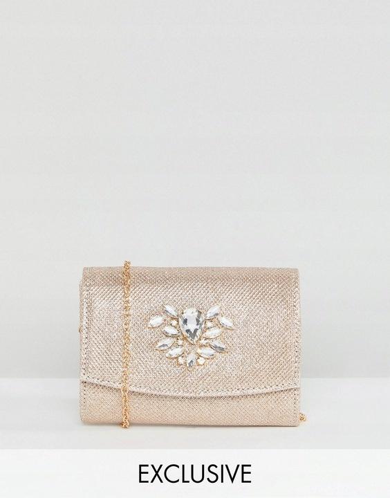 Stylowe puzderko różowe złoto Boohoo torebka na łańcuszku