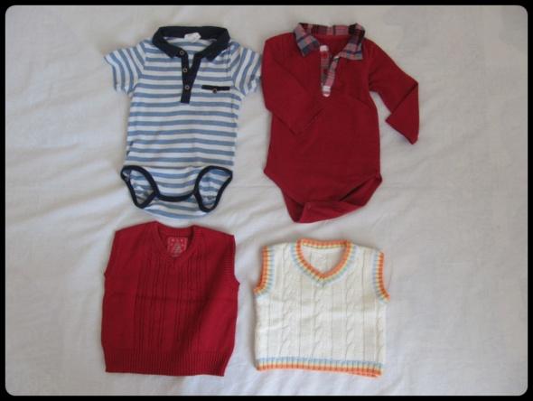 Eleganckie ubranka dla chłopca rozmiar 74 razem 4 sztuki