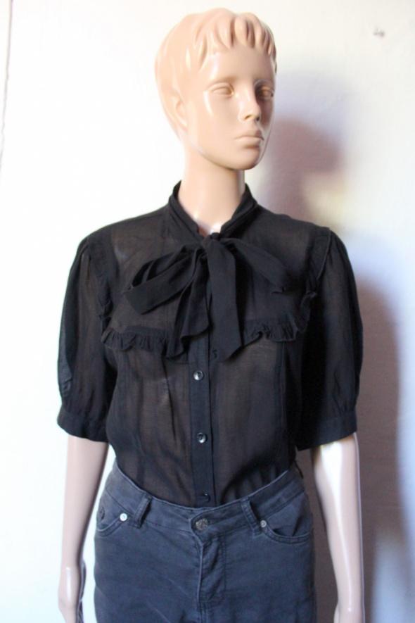 Czarna koszula na krótki rękawek mgiełka r L...
