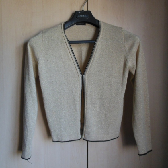 F&F złoty sweterek narzutka bolerko 40