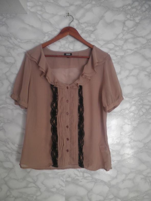 ASOS elegancka szyfonowa bluzka mgiełka z falbankami koronka 44 XXL