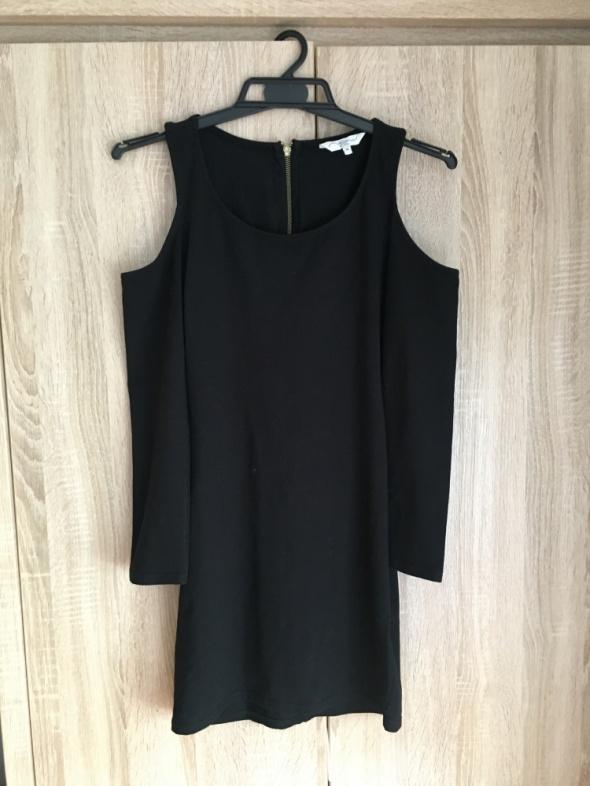 Czarna sukienka wycięcia rękawy odkryte ramiona M new look...