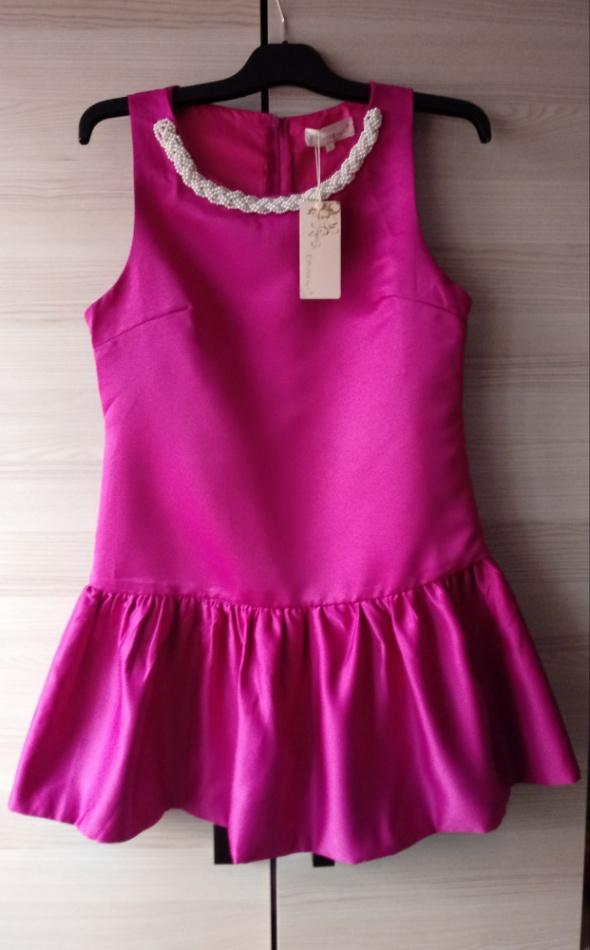Rozowa satynowa sukienka wizytowa L